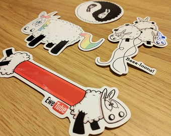 Set of 4 Sheep Stickers, Laptop stickers, ipad stickers, Funny stickers, Sheep gifts, Animal stickers, Journal stickers, cute stickers,