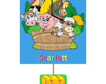 Farm Animals Childrens Personalised Wooden Pendulum Clock  (free UK delivery)