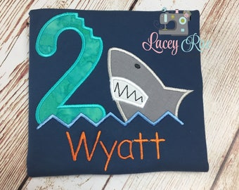 Personalized shark 2nd birthday shirt, Shark birthday shirt, any number
