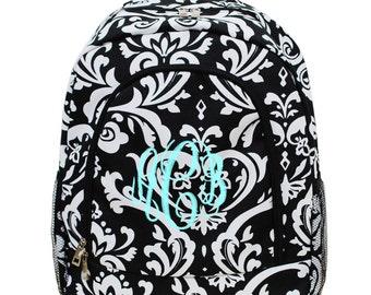 Monogram Black and White Damask Backpack