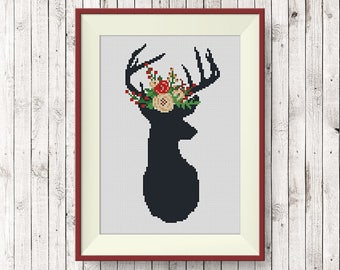 BUY 2, GET 1 FREE! Deer Floral Antlers Cross Stitch Pattern, pdf counted cross stitch pattern, Deer silhouette, Modern cross stitch, #P270