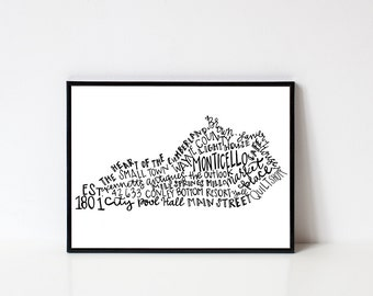 Hand lettered MONTICELLO Kentucky Word Art Print // 8x10