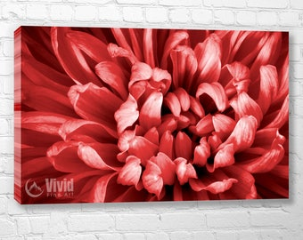 Red canvas art, bedroom wall art, fugi mum flower, floral wall decor, 3 panel canvas triptych, large macro photography, 4 panel, 5 panel