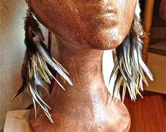 FREE SHIPPING!!! Feathers earrings,boho hippie chic, ethnic, gypsy,pendientes,plumas,étnicos