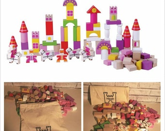 Pink Castle Building Blocks and Personalised Bag