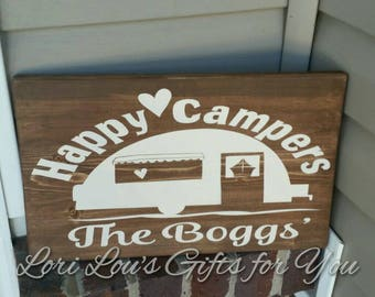 Happy Camper Wooden Sign, Camping Sign, Camper Sign Personalized Camper Sign, happy campers, custom rv sign, travel trailer sign, camping