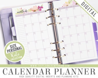 Personal Calendar Planner Inserts - KATE Collection - Fits Kikki K Medium, Filofax Personal Printable - Notes and Month on Two Pages