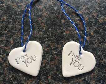 "Handmade Clay Heart inscribed ""I Love You"" with blue & silver string (1)"