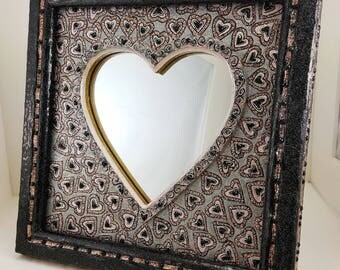 Boho Mirror - Heart  Wall Mirror - Hand Painted - 10 1/4 x 10 1/4 - Designed by Laurie Stuart