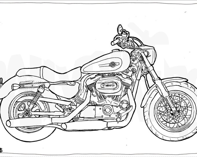 Harley Davidson Sportster 1200 Colouring Page - Motorcycle Illustration - Motorcycle Coloring