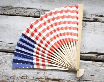 vintage 1950's fourth of july paper fan, American Flag hand fan, paper fan, fourth of July paper fan, independence day , burst of vintage