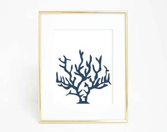 Nautical Print, Coral Wall Art, Nautical Decor, Coral Print, Coral Artwork, Downloadable Art Coastal Print, Navy Blue Decor, Navy Printables