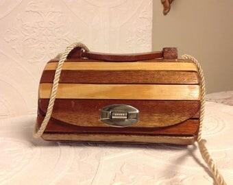 UNIQUE! Vintage handbag in wood/bag storage/Collection. Slats of varnished hardwood, Interior finiTissu