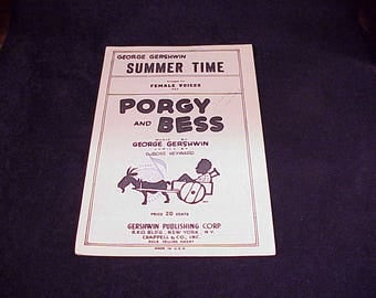 Vintage Porgy and Bess Summer Time Sheet Music, Arranged for Female Vocals, George Gershwin, Black Americana