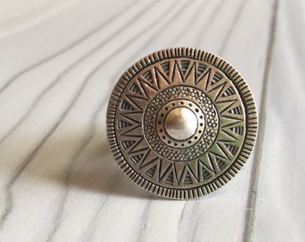Big round silver ring, round silver ring, sun like silver ring, big boho round ring, ethnic round silver ring