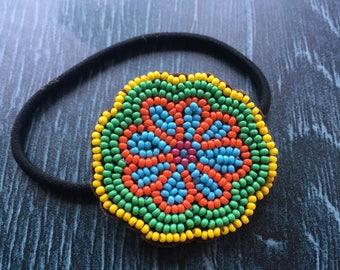 Beaded flower elastic, flower hair band, flower beaded hair band, boho flower hair band, flower elastic
