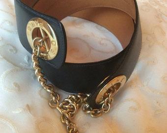 Celine vintage leather belt dark blue.
