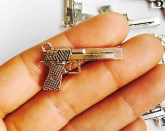 CLOSING SALE 20 pcs Gun Charms, Antique Silver Tone Gun Charm, 2 Sided Charms, BRU 366