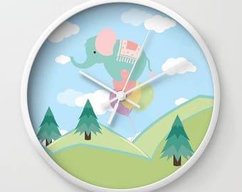 Elephant and Balloons Wall Clock , Colorful Wall Clock  , Housewarming Gift , Large Wall Clock , Wall Decor , Clock Gift , Office Clock