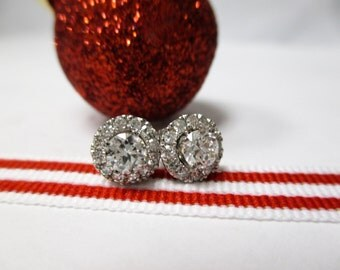 14K Solid White Gold Diamond Studs with Diamond Jackets .74 TCW