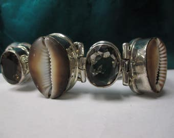 Sterling Silver Brown Cowrie Shell and Smokey topaz Stone Bracelet