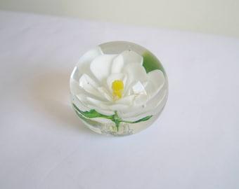 Glass Paper Weight Flower Paper Weight Blown Glass White Water Lily Paperweight White Flower Round Paper Weight