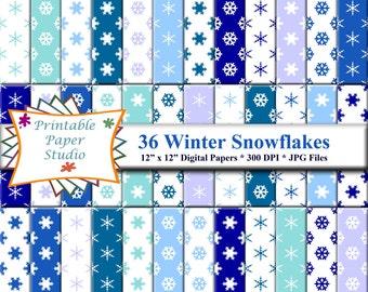 Winter Snowflake Digital Paper Pack, Blue/White Snowflake Paper, Winter Digital Paper, Winter Scrapbook Paper, Instant Download Digital File