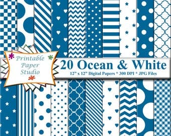 Ocean Blue Digital Paper Pack, Blue Colored Paper for Cardmaking, Digital File, Instant Download, Digital Scrapbook Element, Patterned Paper