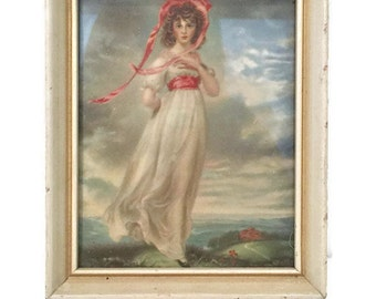 Vintage Framed Portrait of Pinkie, Copy of Famous 18th Century Portrait by Thomas Lawrence