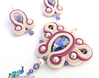 Soutache Necklace and Earrings Set. Wedding Jewellery with Tanzanite Swarovski Crystals. Valentine's Day gift ideas. Mother's Day Gift Idea