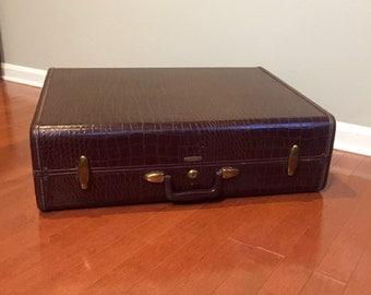 Vintage Suitcase - Samsonite Suitcase - Faux Alligator Suitcase - Retro Luggage