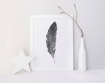 Watercolour Feather Print
