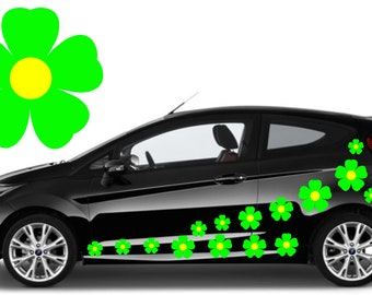 20, green flower car decals,stickers in three sizes