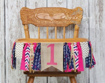 Hot Pink and Navy Nautical Burlap High Chair Banner, Nautical 1st First Birthday, Nautical Girl Fabric Strip Banner, Pink Anchor Banner