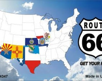 Route 66 Eight Flags with Clouds Magnet