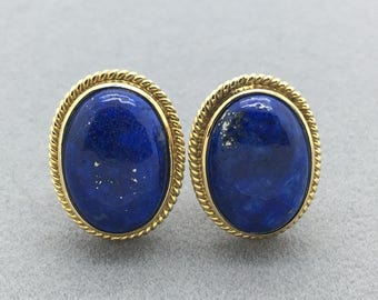 Vintage Lapis Lazuli 14k Gold Oval Cabochon Stud Earrings, Blue Gemstone Retro