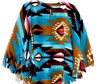Girl's Fleece Teal Southwest Navajo Poncho