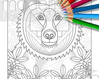 Bear With Me Instant Download Coloring Page Adult Colouring Relaxing Animal