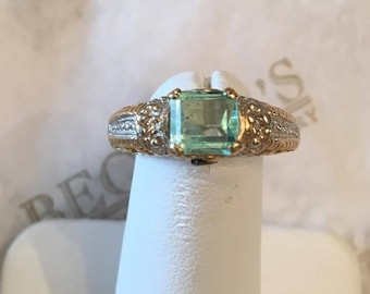Vintage 14k tt ring with an Emerald Cut Light Mint Green Beryl with Diamonds and Green Sapphires, size 7