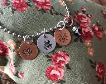 Butterfly, Sun, Flower - Hand Stamped Charm - Bracelet, Necklace, Anklet