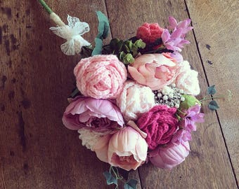 Vintage wedding bouquets with crochet roses