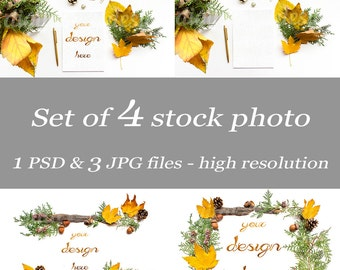 Set Fall Autumn Leaves Cones Branches White Desk  Mock up Styled Stock Digital Download  Bundle Stock Photo Blog Image BlogBanner