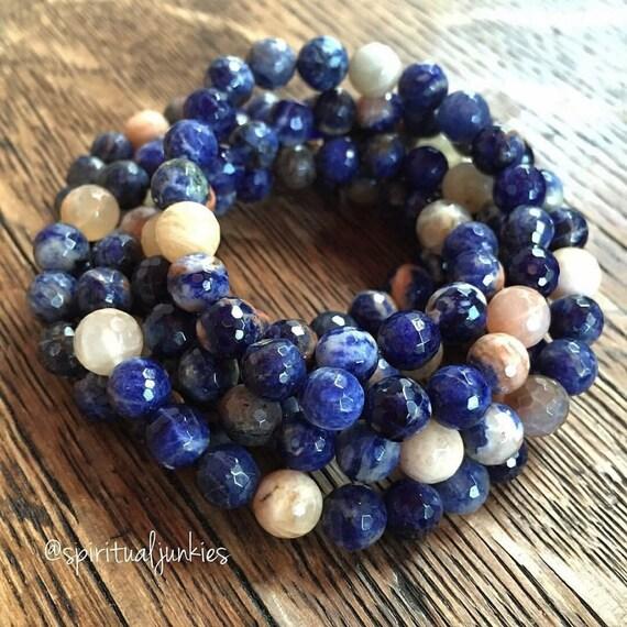 Stackable Mala Inspired Sodalite + Sunstone Spiritual Junkies Yoga and Meditation Bracelet (1 bracelet)