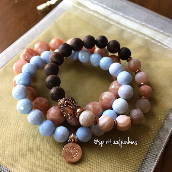 Stack of 3 Agarwood, Sunstone + Light Blue Agate Spiritual Junkies Yoga Bracelets with Hill Tribe Lotus