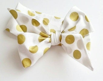 Head wrap {Gold Polka Dots}