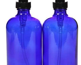 2, Large, 16 oz, Empty, Cobalt Blue Glass Bottles with Black Lotion Pumps