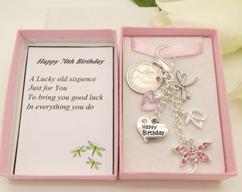 Personalised happy 70th birthday pink dragonfly Random lucky sixpence, charm, keyring, personalised gift box, choice of heart & number charm