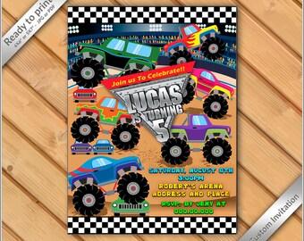 50% OFF SALE - Monster Truck Invitation - Monster Truck Birthday Invitation - Monster Truck Birthday Party - Printable Invitation