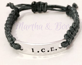 Medical alert bracelet, ICE jewelry, SOS bangle, macrame bracelet, braided medic ID tag, handstamped cuff bracelet, ice band, child identity