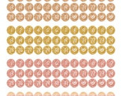 Gold, Copper, Rose Gold, Water colour effect - Date Dots/Covers for ECLP, Happy Planner, monthly views or TN's